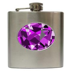 Purple broken glass Hip Flask (6 oz) by Valentinaart