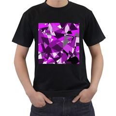 Purple Broken Glass Men s T Shirt (black) by Valentinaart