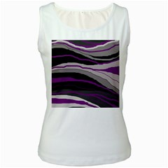 Purple And Gray Decorative Design Women s White Tank Top by Valentinaart