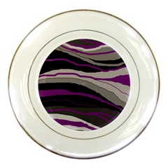 Purple And Gray Decorative Design Porcelain Plates by Valentinaart