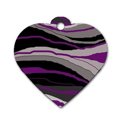 Purple And Gray Decorative Design Dog Tag Heart (two Sides) by Valentinaart