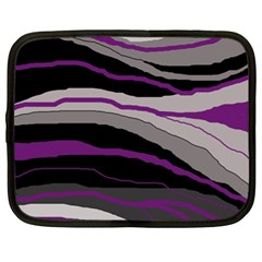 Purple And Gray Decorative Design Netbook Case (xl)  by Valentinaart