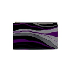 Purple And Gray Decorative Design Cosmetic Bag (small)  by Valentinaart