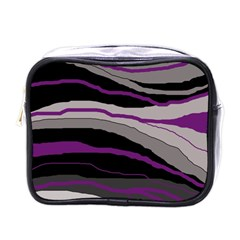 Purple And Gray Decorative Design Mini Toiletries Bags by Valentinaart