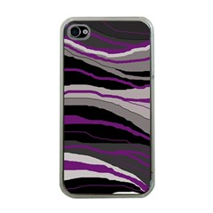 Purple And Gray Decorative Design Apple Iphone 4 Case (clear) by Valentinaart