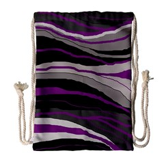 Purple and gray decorative design Drawstring Bag (Large) by Valentinaart