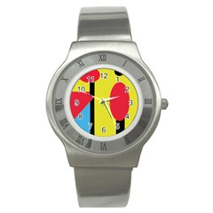 Abstract Landscape Stainless Steel Watch by Valentinaart