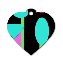Abstract Landscape Dog Tag Heart (two Sides) by Valentinaart