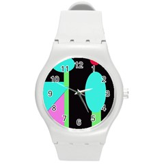 Abstract Landscape Round Plastic Sport Watch (m) by Valentinaart