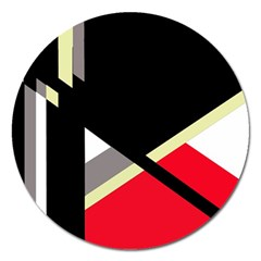 Red And Black Abstraction Magnet 5  (round) by Valentinaart