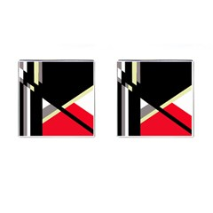 Red And Black Abstraction Cufflinks (square) by Valentinaart