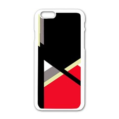 Red And Black Abstraction Apple Iphone 6/6s White Enamel Case by Valentinaart