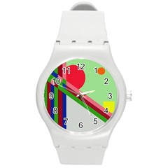 Decorative Abstraction Round Plastic Sport Watch (m) by Valentinaart