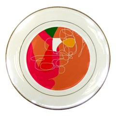 Orange Abstraction Porcelain Plates by Valentinaart