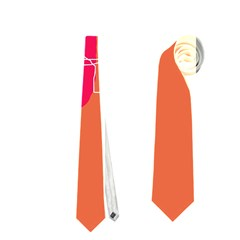 Orange Abstraction Neckties (two Side)  by Valentinaart