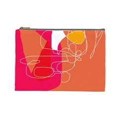 Orange Abstraction Cosmetic Bag (large)  by Valentinaart