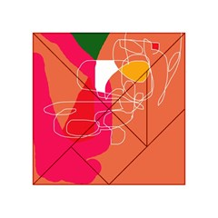 Orange Abstraction Acrylic Tangram Puzzle (4  X 4 ) by Valentinaart