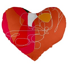 Orange Abstraction Large 19  Premium Heart Shape Cushions by Valentinaart