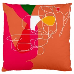 Orange Abstraction Standard Flano Cushion Case (one Side) by Valentinaart
