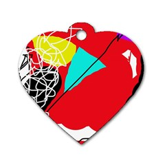 Colorful Abstraction Dog Tag Heart (one Side) by Valentinaart