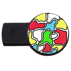 Colorful abtraction USB Flash Drive Round (4 GB)  by Valentinaart