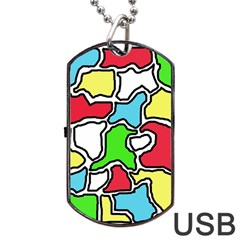 Colorful abtraction Dog Tag USB Flash (One Side) by Valentinaart