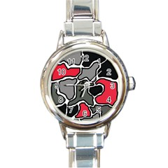 Black, Gray And Red Abstraction Round Italian Charm Watch by Valentinaart