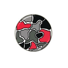 Black, Gray And Red Abstraction Hat Clip Ball Marker (4 Pack) by Valentinaart
