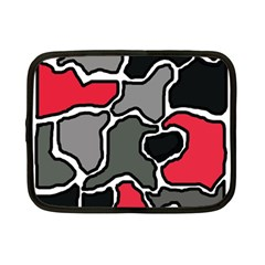 Black, Gray And Red Abstraction Netbook Case (small)  by Valentinaart