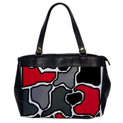 Black, Gray And Red Abstraction Office Handbags by Valentinaart