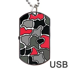 Black, Gray And Red Abstraction Dog Tag Usb Flash (two Sides)  by Valentinaart