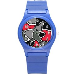 Black, Gray And Red Abstraction Round Plastic Sport Watch (s) by Valentinaart