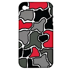 Black, Gray And Red Abstraction Apple Iphone 4/4s Hardshell Case (pc+silicone) by Valentinaart