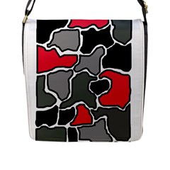 Black, Gray And Red Abstraction Flap Messenger Bag (l)  by Valentinaart