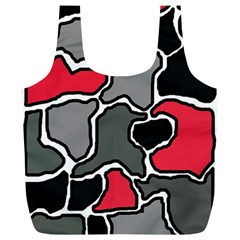 Black, Gray And Red Abstraction Full Print Recycle Bags (l)  by Valentinaart