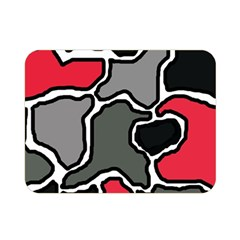 Black, Gray And Red Abstraction Double Sided Flano Blanket (mini)  by Valentinaart