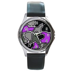 Purple And Gray Abstraction Round Metal Watch by Valentinaart