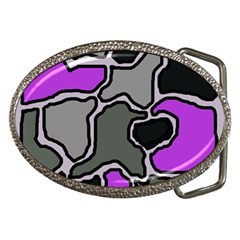 Purple And Gray Abstraction Belt Buckles by Valentinaart