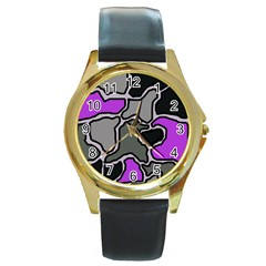 Purple And Gray Abstraction Round Gold Metal Watch by Valentinaart