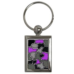Purple And Gray Abstraction Key Chains (rectangle)  by Valentinaart