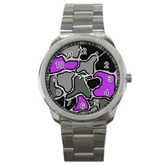 Purple And Gray Abstraction Sport Metal Watch by Valentinaart