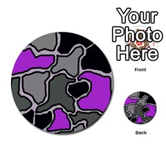Purple And Gray Abstraction Multi Purpose Cards (round)  by Valentinaart
