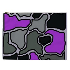 Purple And Gray Abstraction Cosmetic Bag (xxl)  by Valentinaart