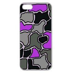 Purple And Gray Abstraction Apple Seamless Iphone 5 Case (clear) by Valentinaart