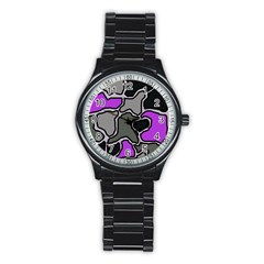 Purple And Gray Abstraction Stainless Steel Round Watch by Valentinaart