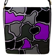 Purple And Gray Abstraction Flap Messenger Bag (s) by Valentinaart
