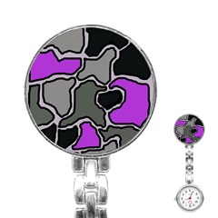 Purple And Gray Abstraction Stainless Steel Nurses Watch by Valentinaart