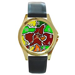 Africa Abstraction Round Gold Metal Watch by Valentinaart