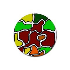 Africa abstraction Rubber Coaster (Round)  by Valentinaart