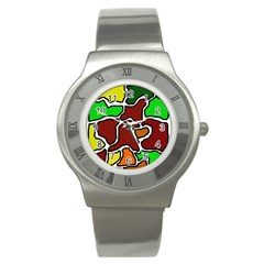 Africa Abstraction Stainless Steel Watch by Valentinaart